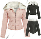 New Quilted Padded Puffer Jacket Womens Bubble Fur Collar Coat Size 8 to 16
