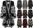 Womens Aztec Print Knitted Drape Waterfall Cape Jacket Shawl Top Ladies Poncho