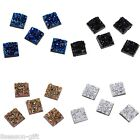 50PCs Uneven Surface Square Resin Embellishments Cabochons Jewelry 12x12mm