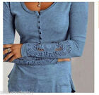 New Womens Long Floral Sleeve Lace Crew Neck Slim Sweater Casual Blouse Top
