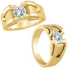 0.50 Carat G-H Diamond Designer Fancy Solitaire Mens Man Ring 14K Yellow Gold