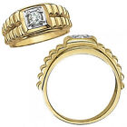 0.5 Carat G-H Diamond Fancy Solitaire Nugget Mans Man Ring 14K White Yellow Gold