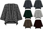 Womens Knitted Poncho Cape Ladies Diamond Aztec Print Sleeveless Wrap Top 8-26