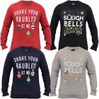 Mens Christmas Sweatshirt Threadbare Xmas Reindeer Baubles Snowflakes Novelty