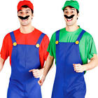 Video Game Plumbers Mens Fancy Dress Super Brothers Luigi Mario Adults Costumes