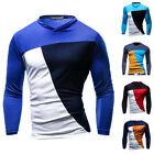 Fashion Men's Casual Color Block Slim Fit Long Sleeve High Quality T-Shirt Tops
