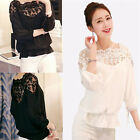 New Sexy Women's Loose Chiffon LACE Tops Long Sleeve Autumn Shirt Casual Blouse