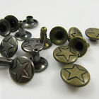 SINGLE CAP DECORATIVE RIVETS WITH STAR DESIGN 9 X 7mm LEATHERCRAFT STUDS