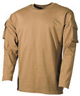 US ARMY MILITARY LONG SLEEVE T-SHIRT COMBAT STYLE SLEEVE POCKETS COYOTE TAN