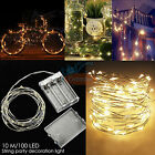 5×2× Warm White Battery Powered Copper 100LED Wire Xmas Party String Fairy Light