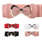 Women Fashion Bowknot Buckle Waistband Wide Elastic Stretch Waist Belt Gift