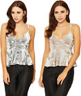 Womens Strappy Velour Party Top Ladies Cropped Peplum Sleeveless Velvet