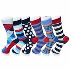 Alpine Swiss 6 Pack Men's Cotton Dress Socks Mid Calf Argyle Pattern Solids Set