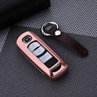 Luxury Case Cover For Mazda Car Key Premium Aircraft Aluminum+100% Real Leather