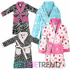 Girls Infants Fleece Dressing Gown Kids Novelty Hearts Bed Bathrobe Gown 2-6 Yrs