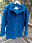 L.L. Bean Ladies L Heavy Fleece Blue Fully Lined Button Jacket Coat Made in USA