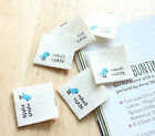 6 x Mint bird Labels / HAND MADE Labels / Sew on craft Labels (La397)