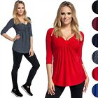Glamour Empire. Women's Silky Top Bow Bust V-Neck Empire Waist 3/4 Sleeves. 153