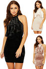 Womens Crushed Velour Party Dress Ladies Layered High Neck Sleeveless New 8-14