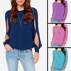 Hot Women Ladies Round Neck Chiffon Long Sleeve Shirt Casual Tops AU