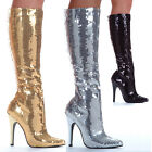 "Ellie 511-TIN SILVER Sequin 5"" Heel Knee High Boots Exotic Dancer New Years"