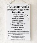 Personalised Recipe for a Happy Home Plaque Gift Family W273