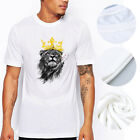 Black  Lion floral Print T-Shirt Top Artwork Tee For Men Women O-Neck