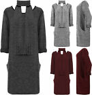 Womens Plus Knitted Scarf Dress Ladies Long Sleeve Pocket Round Neck Knee Length