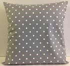 SINGLE CUSHION COVERS GREY WHITE SPOT SHABBY CHIC-STYLE SAME FABRIC FRONT & BACK
