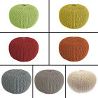 LARGE CHUNKY KNIT POUFFE SEAT FOOT STOOL CUSHION REST ROUND 100% COTTON COVER
