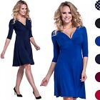 Glamour Empire. Women's Knotted Silky Dress Flared 3/4 Sleeves V-Neckline. 295
