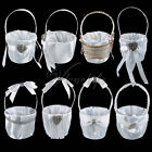 White Satin Flower Girl Basket Wedding Party Favors for Bridal Decorations Gifts