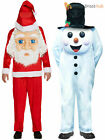 Adults Snowman Santa Claus Costume Mens Christmas Jumbo Face Fancy Dress Outfit