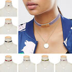 New Women Jewelry Multielement Necklace Velvet Choker With Gold Plated Pendant