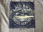 """LAID BACK GUIDE SERVICE AIR SEAPLANE 2-SIDED T SHIRT """"FLY IN AND HANG OUT"""" NWT"""