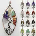 Amethyst Labradorite Garnet Crystal Tourmaline Chip Beads Tree Of Life Pendant