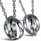 His and Hers Lovers Matching Stainless Steel Couple Necklace Valentine Gift