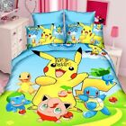 Pokemon Quilt Doona Cover Set Double/Queen/King Size Bed Pikachu New Bedding Set