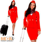 Red Flight Attendant Ladies Fancy Dress Stewardess Air Hostess Adult Costume New