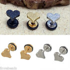2PCs Unisex Punk Fashion Love Heart Titanium Steel Barbell Ear Stud Earrings