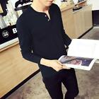 New Men's Fashion Casual Polo Tee Slim Fit V-neck Long Sleeve Tops Tee T-shirt