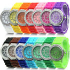 Geneva Fashion Rhinestone Jelly Gel Silicon Girl Women's Quartz Wrist Watch