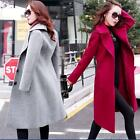 Womens Fashion Elegant Slim Dust Coat Wool Blend Long Winter Jackets Coats Vogue
