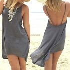 Women Spaghetti Straps Irregular Backless Sleeveless Mini Dress N4U8
