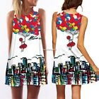 Beach Women O-neck Evening Beach Floral Party Mini Tank Dress Summer N4U8