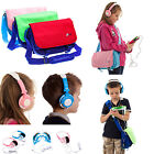 Kids Messenger Satchel Travel Bag + DJ Headphones for Lenovo YOGA Tab 3 8""