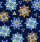 SUNDAY FLOWER POINTED FLORAL BLUE QUILT SEWING FABRIC Free Oz Post