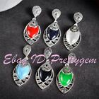 12x22mm Oval Stone Gemstone Tibetan Silver Marcasite Classical Pendant 1 Pcs