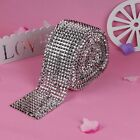 1/5/10Yards 11cm Bullet Silver Diamond Mesh Wrap 12-Row Rhinestone Ribbons Trims
