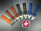 20mm VICTORINOX SWISS ARMY LEATHER STRAP CAVALRY Deployment BAND Brown Blue 20